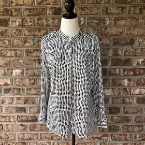 Peck & Peck Silky Spotted Button Down Shirt Sz M